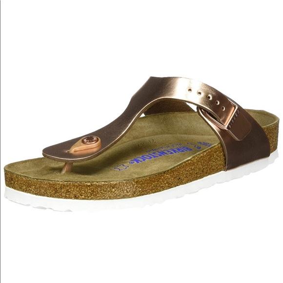 super popular 7cc2c 3cd45 NWT Birkenstock Gizeh Metallic Rose gold Sandal NWT